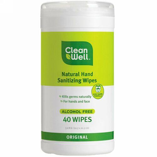 CleanWell, 手の衛生 全天然ティッシュ, アルコールフリー, オリジナル, 40ワイプ, 各5 × 8 インチ(12.7 × 20.3 cm) (Discontinued Item)