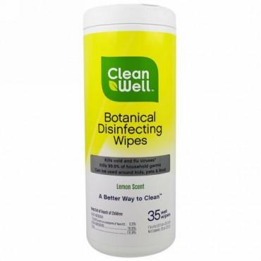 CleanWell, 植物消毒ワイプ、レモン香水、ウエットワイプ35 枚、7インチx 8インチ(117 cm x 20.3 cm) (Discontinued Item)