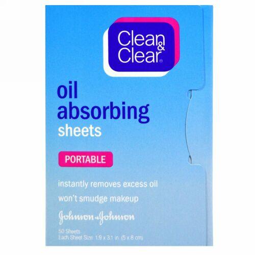 Clean & Clear, オイル 吸収シーツ、 ポータブル、 50 シーツ
