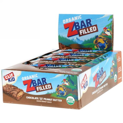 Clif Bar, Clif Kid, Organic Zbar Filled, Chocolate Filled with Peanut Butter, 12 Bars, 1.06 oz (30 g) Each (Discontinued Item)