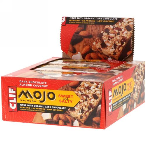 Clif Bar, Mojo, Sweet and Salty Trail Mix Bar, Dark Chocolate Almond Coconut, 12 Bars, 1.59 oz (45 g) Each (Discontinued Item)