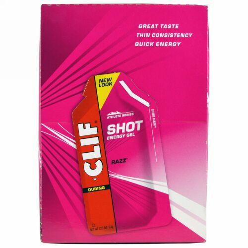 Clif Bar, ショット エネルギーゼリー(Shot Energy Gel), ラズ(Razz), 24パケット, 各1.2オンス(34 g)