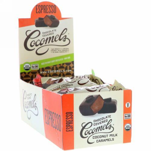 Cocomels, オーガニック、チョコレートカバーココナッツミルクキャラメル、エスプレッソ、15個、各1オンス (28 g) (Discontinued Item)