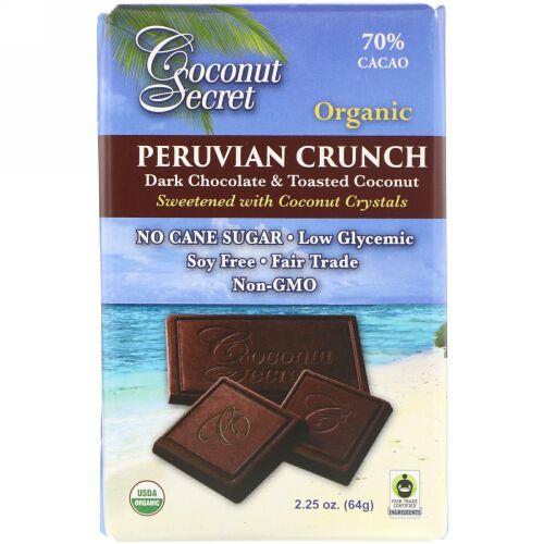 Coconut Secret, ペルーのオーガニッククランチ、ダークチョコレート&トーストココナッツ、70%カカオ、64g(2.25オンス) (Discontinued Item)