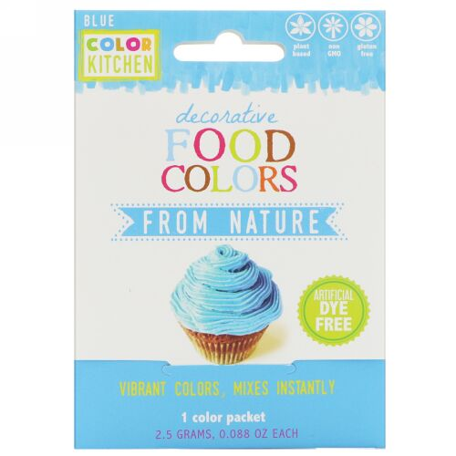 ColorKitchen, デコラティブ、天然食品着色料、ブルー、1色パック、0.088 oz (2.5 g)
