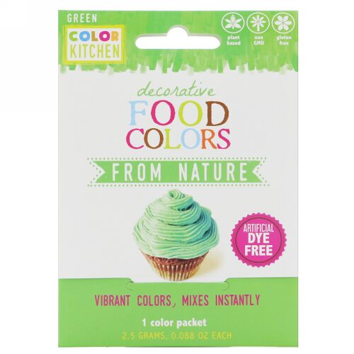 ColorKitchen, デコラティブ、天然食品着色料、グリーン、1色パック、0.088 oz (2.5 g) (Discontinued Item)