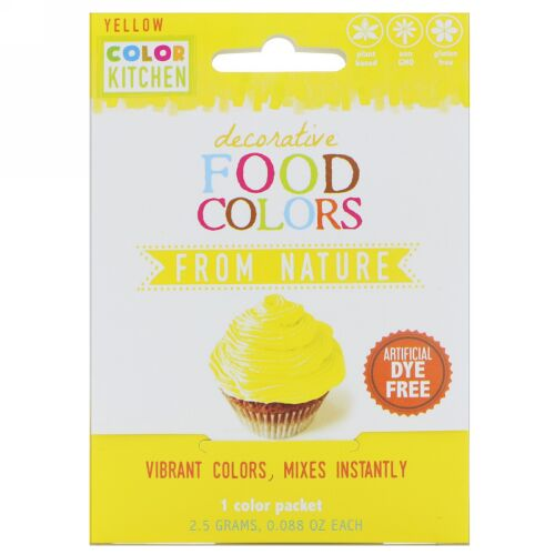 ColorKitchen, Decorative Food Colors, From Nature, Yellow, 1 Color Packet, 0.088 oz (2.5 g) (Discontinued Item)
