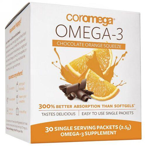 Coromega, オメガ-3、 チョコレートオレンジスクイーズ、 30 一回分 パケット (2.5 g) (Discontinued Item)