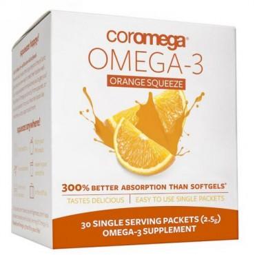 Coromega, オメガ-3、 オレンジスクイーズ、 30 一回分 パケット 各(2.5 g) (Discontinued Item)