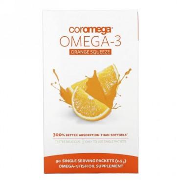 Coromega, オメガ3オレンジスクイーズ, 90パケット, 各2.5 g