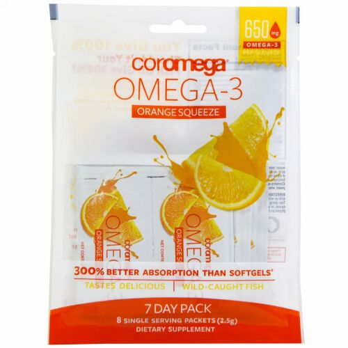 Coromega, Omega-3 Squeeze、オレンジ、8パック入り、各2.5 g (Discontinued Item)