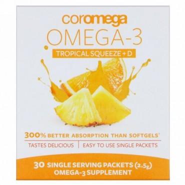 Coromega, オメガ3スクイーズ + ビタミンD、トロピカルオレンジ、個別パック30食分、各2.5 g