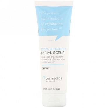 Cosmedica Skincare, 2.5% グリコール フェイシャルスクラブ、4オンス (120 ml)
