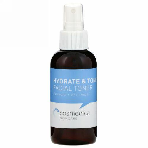 Cosmedica Skincare, ハイドレート&トーン フェイシャルトナー、ローズウォーター + ウィッチヘーゼル(マンサク)、 4 オンス (120 ml)