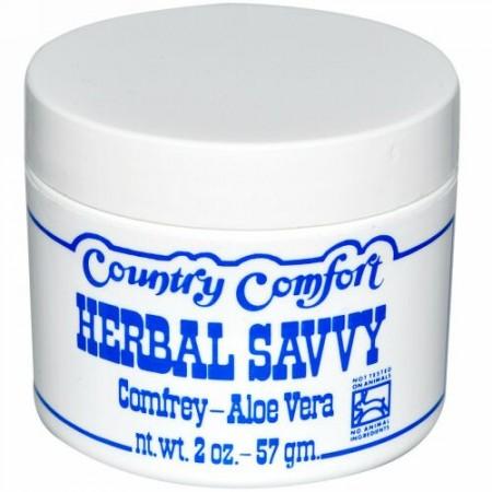 Country Comfort, Herbal Savvy, Comfrey-Aloe Vera, 2 oz (57 g)