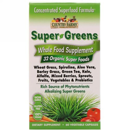 Country Farms, Super Greens, Whole Food Supplement, 60 Vegetable Capsules (Discontinued Item)