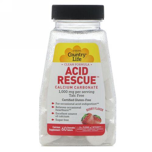Country Life, アシッドレスキュー、炭酸カルシウム、ベリー風味、1,000 mg、60チュアブル錠 (Discontinued Item)