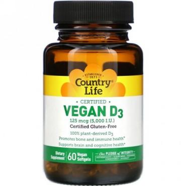 Country Life, Vegan D3, 125 mcg (5,000 IU), 60 Vegan Softgels