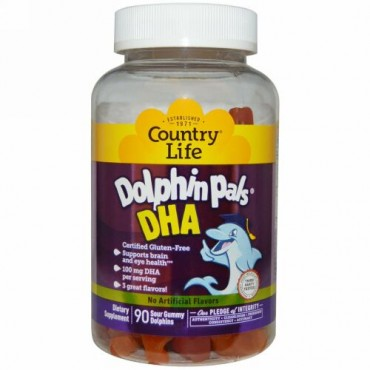 Country Life, Dolphin Pals, DHA, 90 Sour Gummy Dolphins