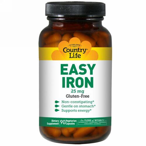 Country Life, イージー・アイロン、 25 mg、ベジキャップ90 錠