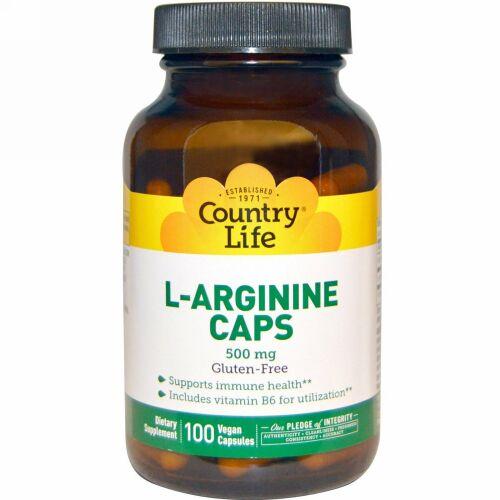 Country Life, L-Arginine Caps, 500 mg, 100 Vegan Caps