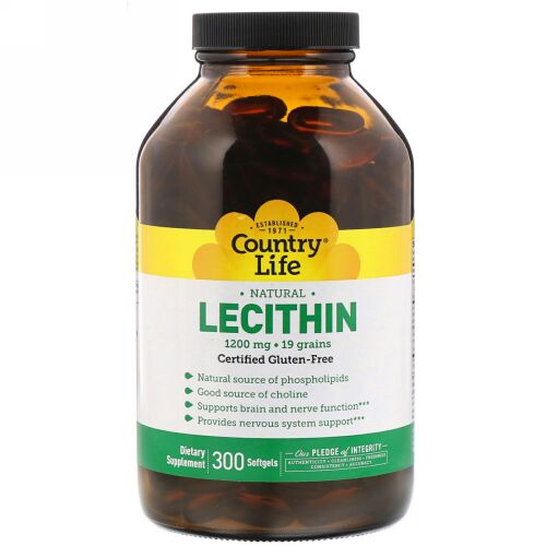 Country Life, レシチン、1200mg、300ソフトジェル (Discontinued Item)