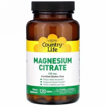 Country Life, クエン酸マグネシウム、250mg、120錠