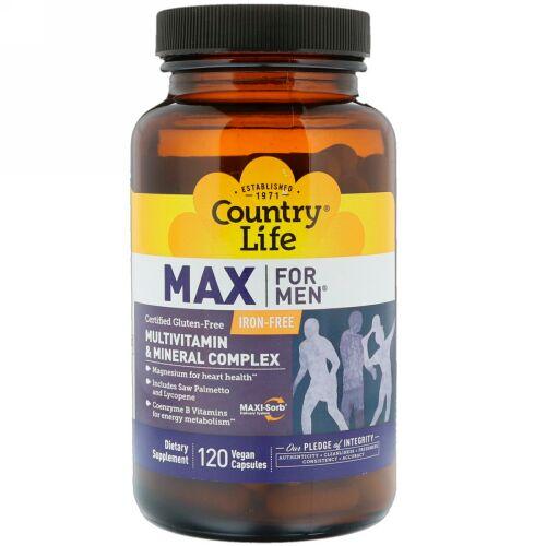 Country Life, マックスフォーマン、マルチビタミン&ミネラル、鉄分なし、 120ベジキャップ