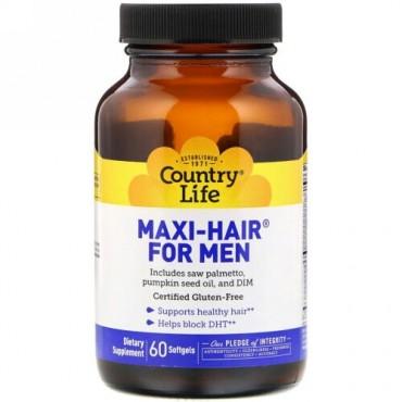 Country Life, Maxi-Hair(マキシヘア)男性用、ソフトジェル60粒