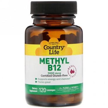 Country Life, Methyl B12, Berry, 3,000 mcg, 120 Lozenges