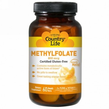 Country Life, Methylfolate, Orange, 800 mcg, 60 Smooth Melts