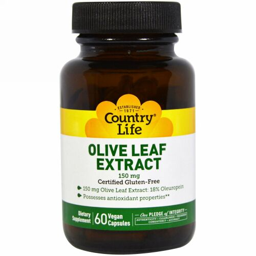 Country Life, オリーブの葉エキス, 150 mg, 60粒(ベジタリアンカプセル) (Discontinued Item)