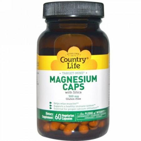Country Life, ターゲットミネラル, マグネシウムカプセル, 300 mg, 60粒(ベジタリアンカプセル) (Discontinued Item)