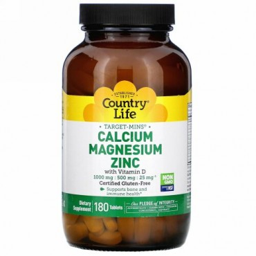 Country Life, Target-Mins, Calcium Magnesium Zinc with Vitamin D, 180 Tablets
