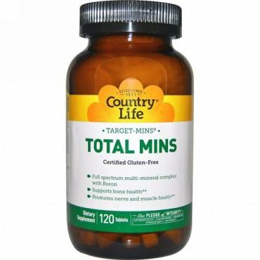 Country Life, Target-Mins、トータル・ミンズ、ホウ素入りマルチミネラル複合体、タブレット120 錠