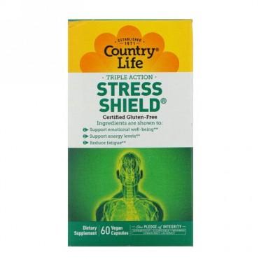 Country Life, ストレスシールド、トリプルアクション、ベジキャップ使用 60 錠