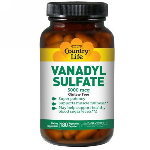 Country Life, Vanadyl Sulfate, 5,000 mcg, 180 Vegetarian Capsules