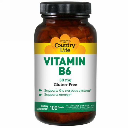 Country Life, ビタミン B6、50 mg、100 錠 (Discontinued Item)