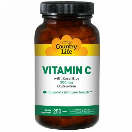 Country Life, Vitamin C with Rose Hips, 500 mg, 250 Tablets