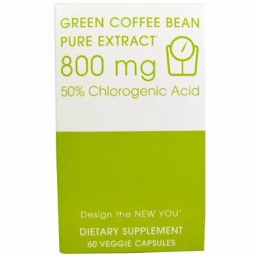 Creative Bioscience, 生コーヒー豆, ピュアエキス, 800 mg, 60粒(ベジタリアンカプセル) (Discontinued Item)