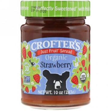 Crofter's Organic, オーガニック, ジャストフルーツ スプレッド, ストロベリー, 10 oz (283 g) (Discontinued Item)