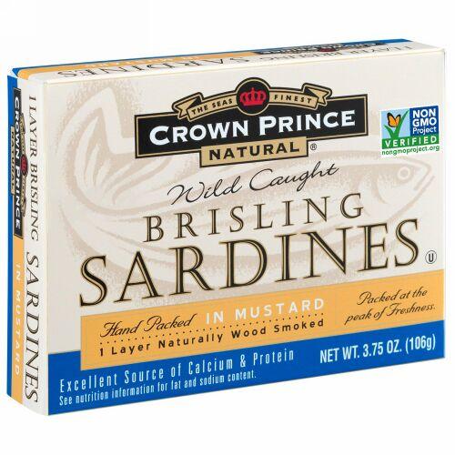 Crown Prince Natural, Brisling Sardines, In Mustard, 3.75 oz (106 g) (Discontinued Item)
