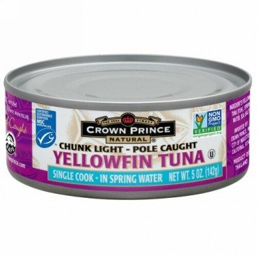 Crown Prince Natural, Yellowfin Tuna, Chunk Light, In Spring Water, 5 oz (142 g) (Discontinued Item)