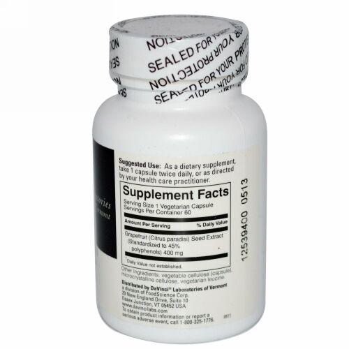 DaVinci Laboratories of Vermont, グレープフルーツシードエキス, 400 mg, 60 カプセル (Discontinued Item)