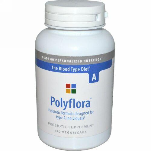 D'adamo, ポリフローラ®(Polyflora), 血液型A向けプロバイオティックフォーミュラ, 120 ベジカプセル (Discontinued Item)