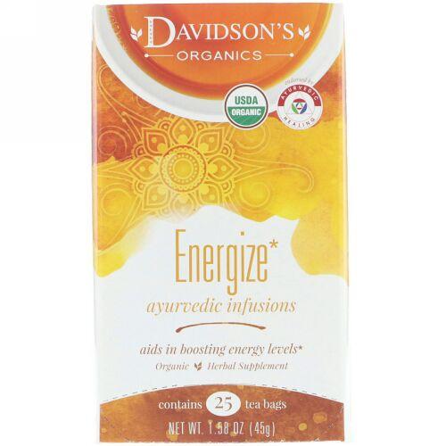 Davidson's Tea, Ayurvedic Infusions, Energize, 25 Tea Bags, 1.58 oz (45 g) (Discontinued Item)