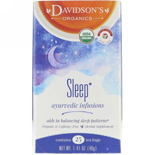 Davidson's Tea, Ayurvedic Infusions, Sleep, 25 Tea Bags, 1.41 oz (40 g) (Discontinued Item)