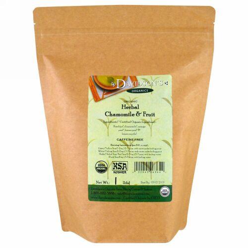 Davidson's Tea, オーガニック, ハーバルカモミール & フルーツティー, カフェインフリー, 1 lb (Discontinued Item)