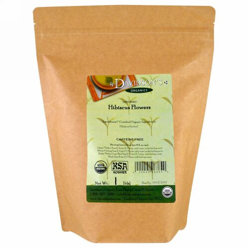 Davidson's Tea, オーガニック, ハイビスカスティー, カフェインフリー, 1 lb (Discontinued Item)