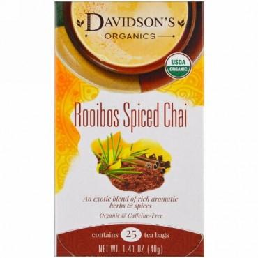 Davidson's Tea, オーガニック、ルイボススパイスチャイ、カフェインフリー、25ティーバッグ、1.41オンス (40 g) (Discontinued Item)